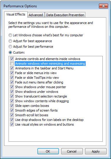 قابلیت Minimize و Maximize پنجرههای ویندوز, افکت حرکتی