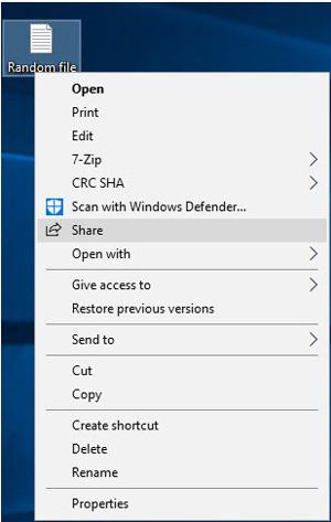 انتقال وایرلس فایلها از طریق بلوتوث, اشتراک فایلها در ویندوز 10