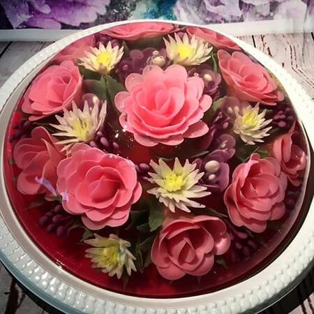 تزیین ژله تزریقی گل رز,تزیین ژله تزریقی,روش تزیین ژله تزریقی