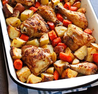 نحوه پخت خوراک مرغ و سيب زميني,مواد لازم براي خوراک مرغ و سيب زميني