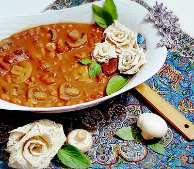 خوراک لوبیا چیتی با قارچ,خوراک لوبیا و قارچ