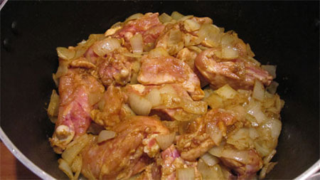 پخت خورش کاری مرغ, نحوه پخت خورش کاری مرغ