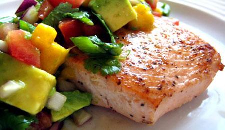 ماهی سالمون کبابی با سالسا,پخت ماهی سالمون کبابی با سالسا