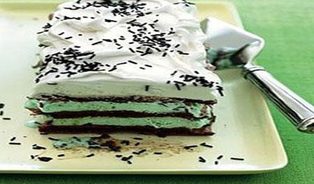 کیک بستنی شکلاتی و نعنایی,طرز تهیه کیک بستنی شکلاتی و نعنایی