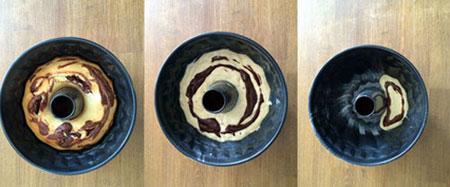 طرز تهیه کیک گورخری,پخت کیک دو رنگ
