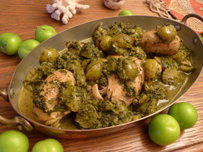 طرز تهیه خورش گوجه سبز و مرغ
