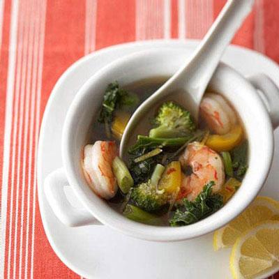 طرز پخت سوپ میگو با سس لیمو کنجد,طرز تهیه سوپ میگو با سس لیمو کنجد