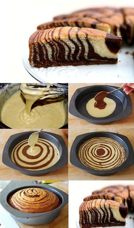 طرز درست کردن کیک زبرا, روش های پخت کیک زبرا
