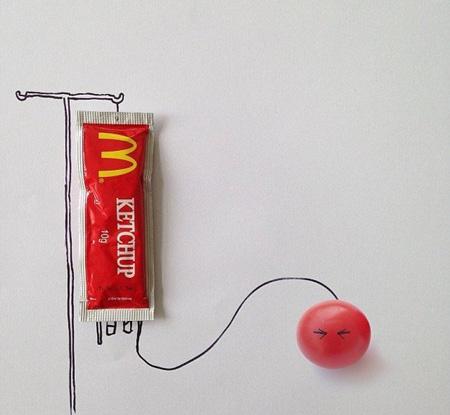نقاشی های ترکیبی و طنز با اشیا, نقاشی های طنز با اشیا