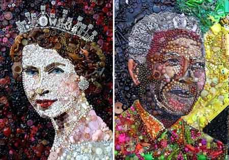فتوگالري: پرتره های زیبا و خیره کننده ساخته شده از مواد بازیافتی