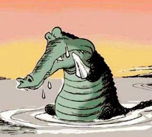 ضرب المثل, اشک تمساح, اشک تمساح می ریزد
