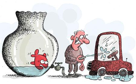 نقاشی صرفه جویی در مصرف سوخت کاریکاتور بحران آب