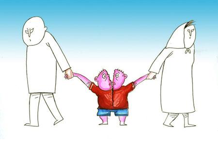 بچه های طلاق, طنز و کاریکاتور