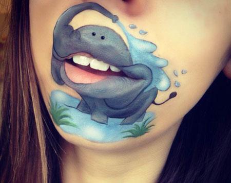 عکس های خنده دار, نقاشی روی لب