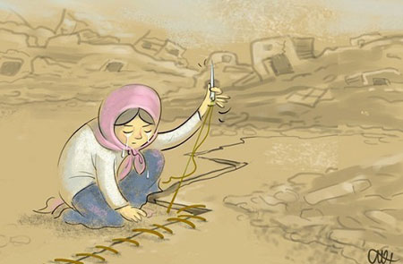 زلزله در ایران, کاریکاتورهای مفهمومی