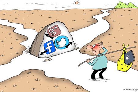کاریکاتور درباره اعتیاد به شبکه های اجتماعی