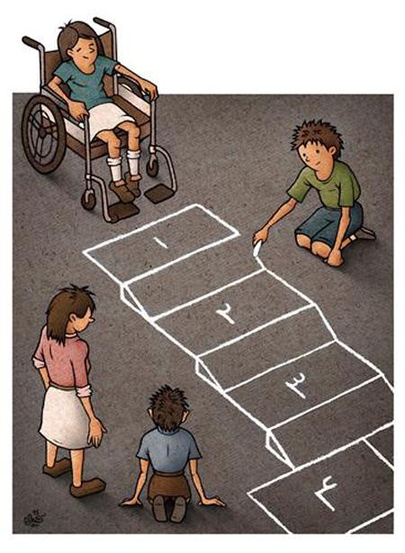 کاریکاتور و تصاویر طنز|کاریکاتور روز جهانی معلولین