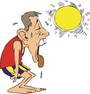 گرفتگی عضلات, گرمازدگی, درمان گرمازدگی