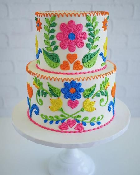 کیک با طرح های گلدوزی, طرح های کیک تولد