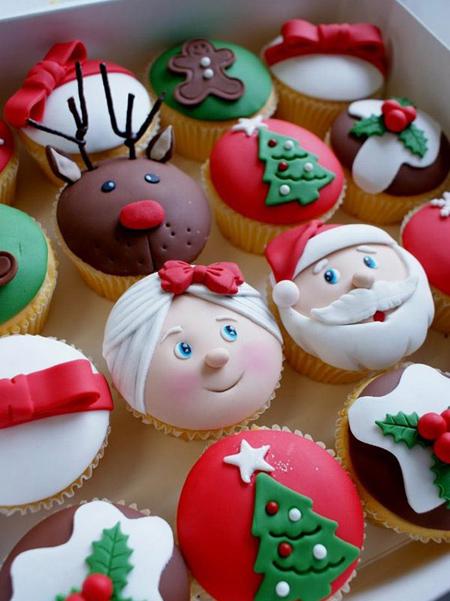 روش تزیین کاپ کیک کریسمس,تزیین کاپ کیک کریسمس