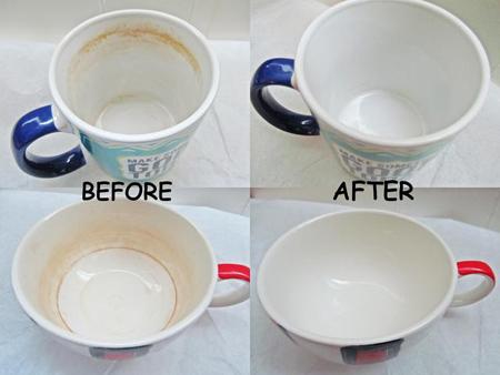 تمیز کردن فنجان بدون سفید کننده, شیوه تمیز کردن لکه چای و قهوه
