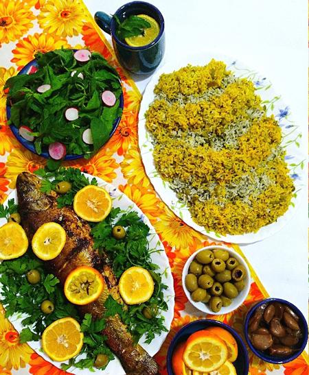 تزیین سبزی پلو با ماهی شکم پر, روش های تزیین سبزی پلو با ماهی