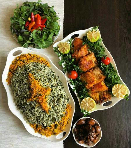 سبزی پلو با ماهی,تزیین سبزی پلو با ماهی
