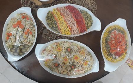 تزیین انواع سالاد ماکارونی,تزیین سالاد ماکارونی