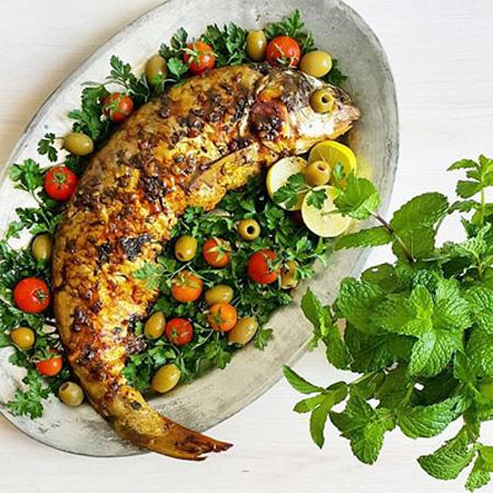 تزیین ماهی شکم پر, تزیین ماهی سوخاری