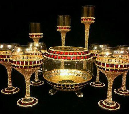 ظروف هفت سین جواهر نما, تزیین ظروف هفت سین با کریستال و مروارید