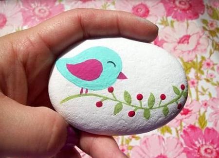 نقاشی رو سنگ,نقاشی روی سنگ با گواش