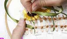 آموزش روبان دوزي گل آفتابگردان
