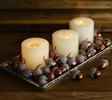 تزیین شمع با بلوط,تزیین جاشمعی