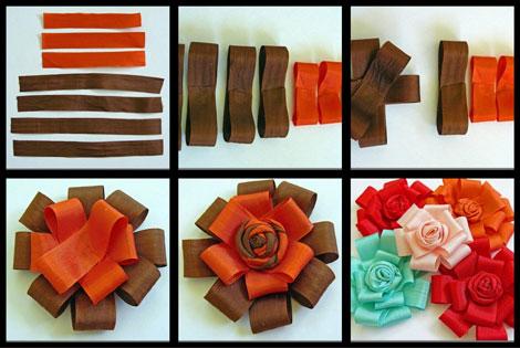 آموزش تصویری درست کردن سه نوع گل با روبان