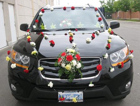 ماشین عروس 2016 با گل و تور, ساده ترین مدل ماشین عروس 2016