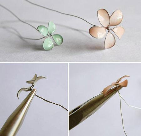 گل سر با سیم و لاک ناخن,نحوه درست کردن گل سر