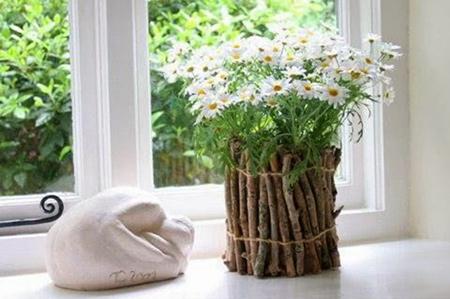 تزیین گلدان با شاخه درخت,تزیین گلدان