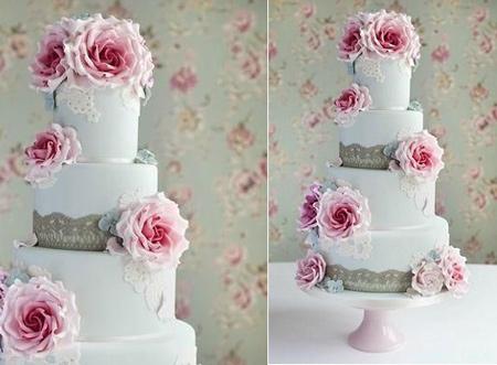کیک عروسی رنگ آبی,کیک عروسی به رنگ صورتی