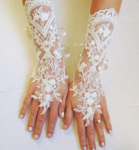 دستکش عروس با ساتن و تور, جدیدترین مدل دستکش عروس
