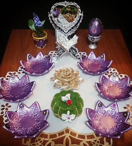 انواع سفره های شب عید,تزیین ظروف هفت سین