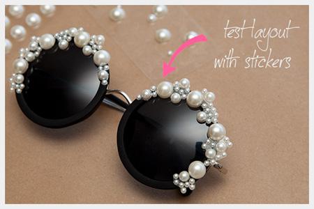 تزیین عینک آفتابی با سنگ و مروارید,تزیین عینک آفتابی