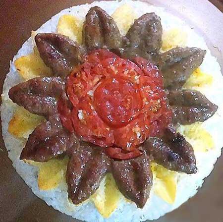 تزیین کباب تابه ای با گوجه,مدل تزیین کباب تابه ای