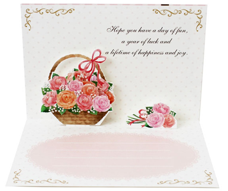 گل رز با کارت, کارت پستال گل کوچک