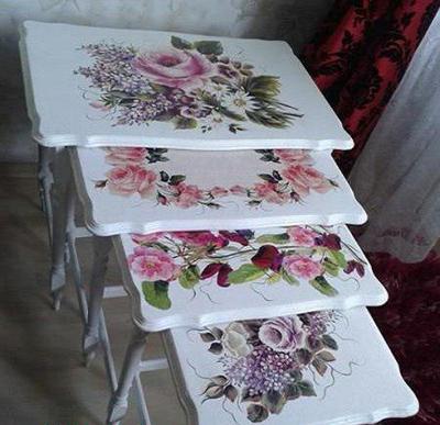تزیین میزهای قدیمی با هنر دکوپاژ