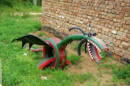 نمونه های تزیین لاستیک به شکل حیوان, ساخت حیوان با لاستیک های فرسوده