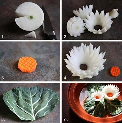 نحوه تزیین پیاز,تزیین پیاز به شکل گل