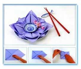 تزیین دستمال سفره به شكل گل
