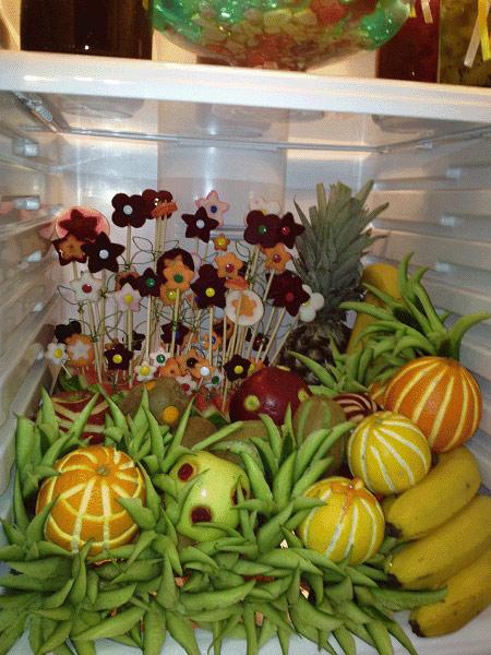 تزئین یخچال عروس, تزیین میوه یخچال عروس