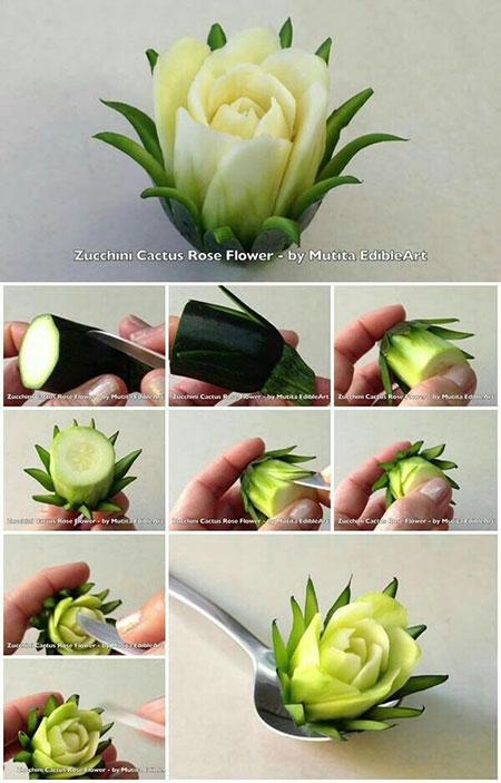 تزیین خیار سالاد به شکل گل رز