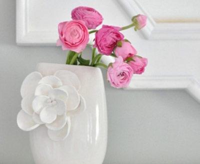 تزیین گلدان های ساده,تزیین شیشه برای گلدان